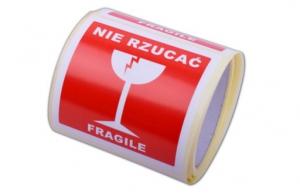 ETYKIETA 10/10 CM--NIE RZUCAĆ / FRAGILE-- 100 SZT.